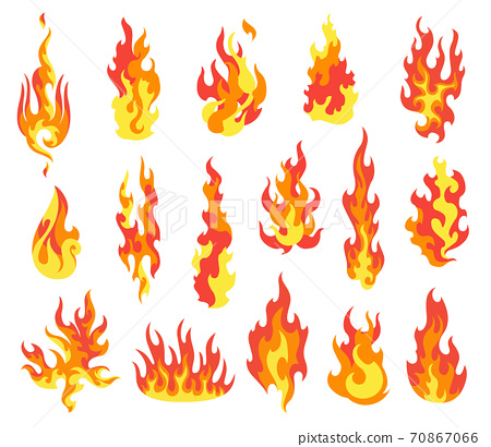 Set of red and orange fire flame. Flames of different shapes. Fireball set, flaming symbols. Idea of energy and power. Collection of hot flaming element. Vector icons in cartoon style 70867066