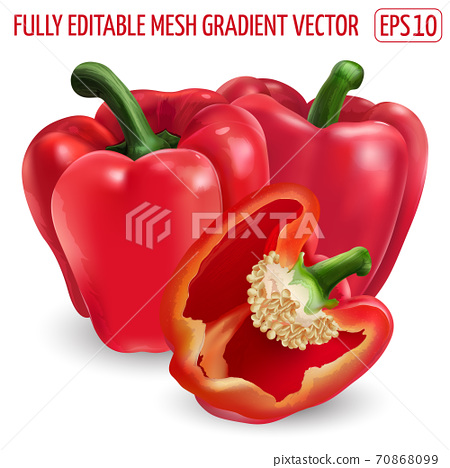 Two red bell peppers and a half on white background. 70868099