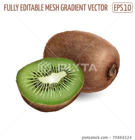 Whole kiwi with a half kiwi on white background. 70868124