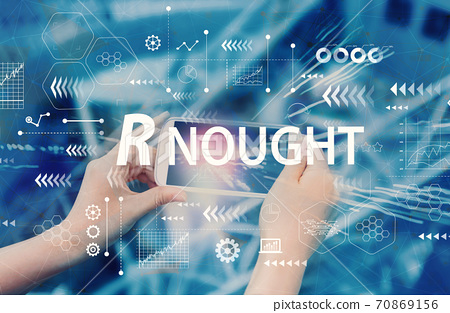 R Nought theme with person using smartphone 70869156
