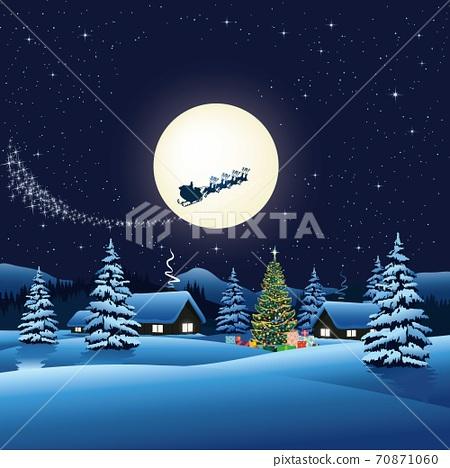 vector of santa claus on sleigh flying in sky against full moon over rural houses 70871060
