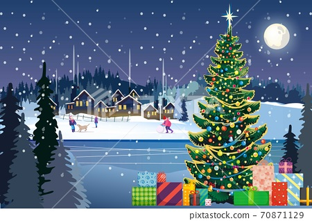 vector of children playing in front of houses in village at night with pine trees and full moon 70871129