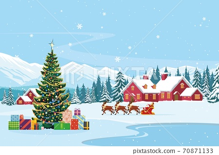 vector of santa claus on sleigh with reindeers passing through houses 70871133