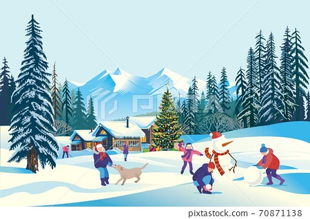 vector of children playing in front of houses in village with mountains and pine trees 70871138