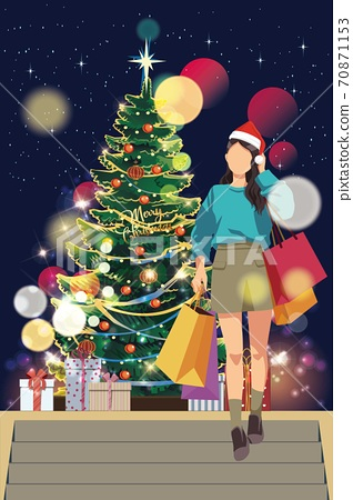 vector of young fashionable woman walking on street with shopping bags during christmas 70871153