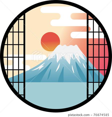 從窗戶看富士山的日出 70874585