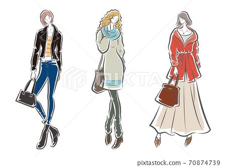 婦女的時尚插畫 70874739
