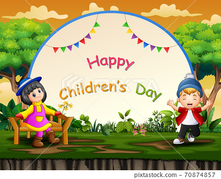 Happy children's day background with happy kids 70874857