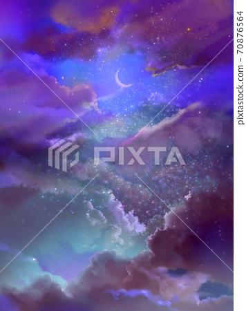 꿈 귀여운 다채로운 구름과 달 배경 일러스트 70876564