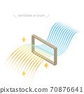 窗戶上的通風等距圖的插圖,流線型的彩色漸變風 70876641