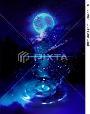 斯堪的納維亞湖中映出的滿月,星空和浮雲 70877116