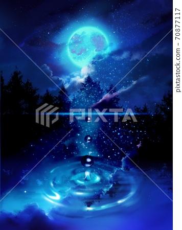 斯堪的納維亞湖中映出的滿月,星空和浮雲 70877117