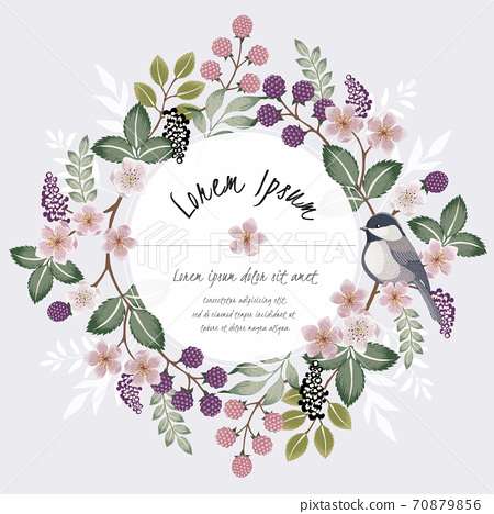 Vector illustration of a floral frame with a cute bird on a floral branch in spring for Wedding, anniversary, birthday and party. Design for banner, poster, card, invitation and scrapbook  70879856