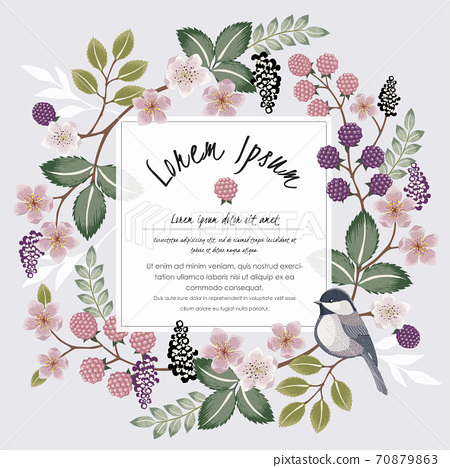 Vector illustration of a floral frame with a cute bird on a floral branch in spring for Wedding, anniversary, birthday and party. Design for banner, poster, card, invitation and scrapbook  70879863