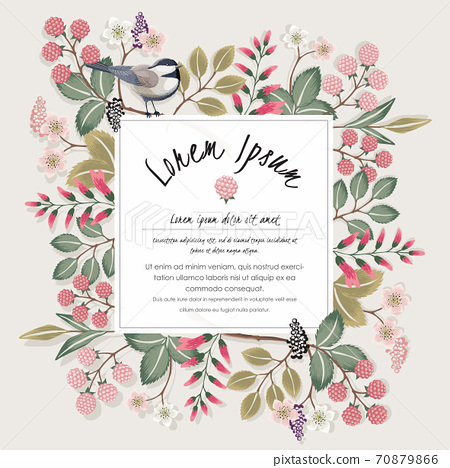 Vector illustration of a floral frame with a cute bird on a floral branch in spring for Wedding, anniversary, birthday and party. Design for banner, poster, card, invitation and scrapbook  70879866