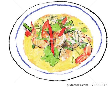 타이 카레 (옐로우 카레) 수채화 × 색연필 일러스트 70880247