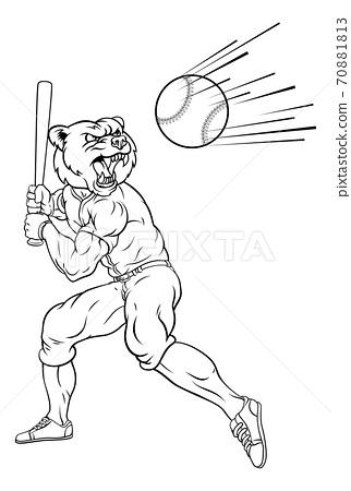 Bear Baseball Player Mascot Swinging Bat at Ball 70881813
