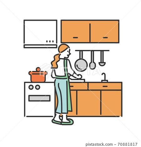 一個女人站在廚房裡做飯的插圖素材 70881817