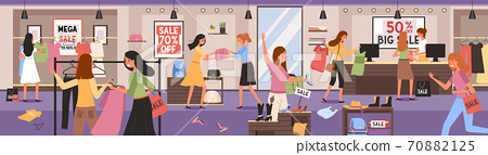 Woman in clothing store on Black Friday. Girls hurrying for seasonal sale in store, shop, mall, showroom 70882125