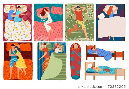 Sleeping people in bed, set of vector illustrations. Couples, men, women in sleep poses. Top view dreaming families, kids and singles sleepers. 70882206