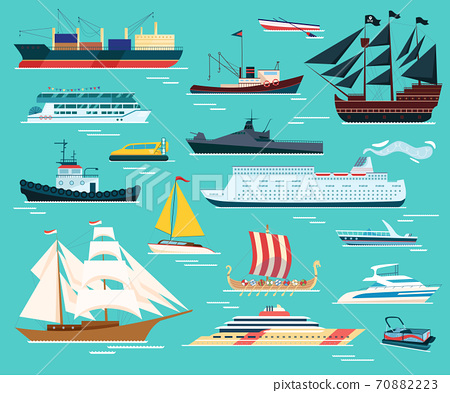 Ships and boats isolated set of vector illustrations. Shipping transport and travel vessels, sailboat, cruise liner, barge and yachts. 70882223