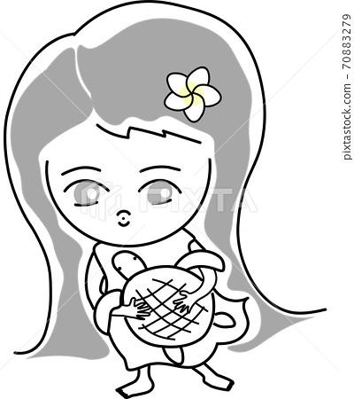 Hawaiian girl holding a turtle 70883279
