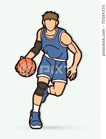 Basketball player action cartoon graphic vector 70884335