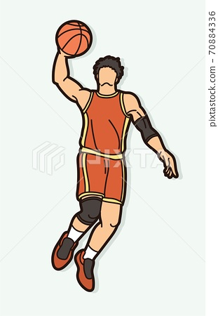 Basketball player action cartoon graphic vector 70884336