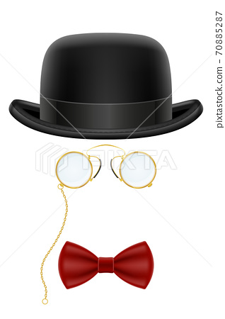 black retro bowler hat with glasses and bow tie vector illustration 70885287