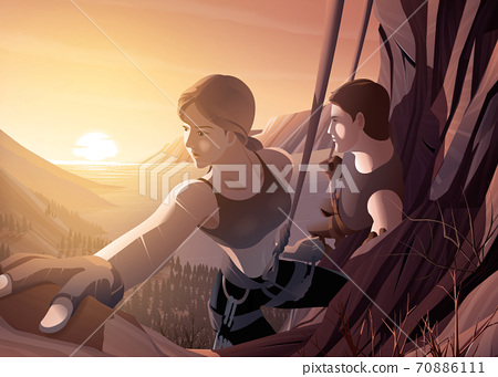 Vector illustration of a young couple climbing the cliff together with a background of the beautiful scenery of sea estuary and the sun rising 70886111
