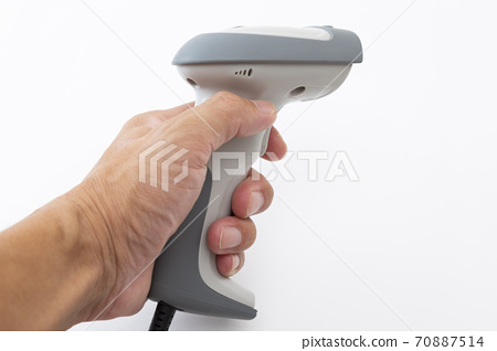 Hands with a barcode scanner 70887514