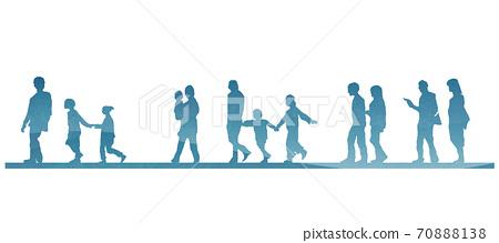 步行家庭和情侶剪影的設計零件 70888138