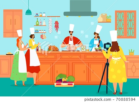 People cook food at kitchen, cooking chef vector illustration. Professional class for restaurant cuisine recipe, cartoon culinary meal. 70888594