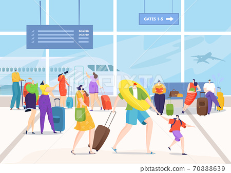 Airport terminal, people with travel luggage go for vacation vector illustration. Journey transport flight for travel, tourism trip with bag baggage. 70888639