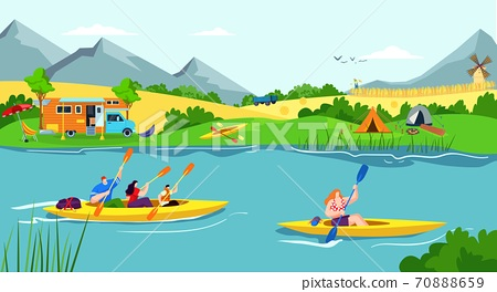 Water recreation vacation in river, summer boat sport for people kayak activity vector illustration. Man woman character with paddle 70888659