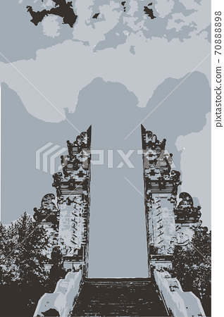 Gates of temple Lempuyang on Bali, vector eps 10 70888898