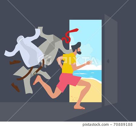 Businessman Running open door to the sea beach 70889188