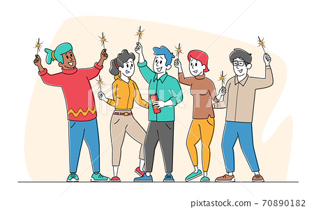 People with Sparklers Celebrate Holidays, Friendship Concept. Group of Cheerful Happy Characters Rejoice with Hands Up 70890182
