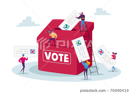 Election and Social Poll Concept. Tiny Voters Male and Female Characters Casting Ballots at Polling Place During Voting 70890410