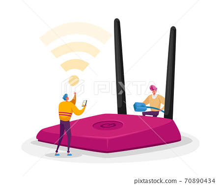 Wireless Connection, Modern Technology Concept. Tiny Male Characters Set Up and Use Wifi Router. People Surfing Internet 70890434