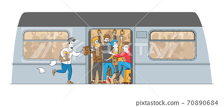 Man Running in Subway Platform to Crowded Train in Rushtime. Characters Pushing Each Other in Full Metro in Peak Hour 70890684