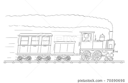 Vector Cartoon Illustration of Man or Engineer Driving Steam Train Engine or Locomotive Running on Railroad Track With Coal Tender and Passenger Car or Wagon 70890698