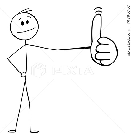Vector Cartoon Illustration of Man or Businessman Showing Big Thumb Up Gesture 70890707