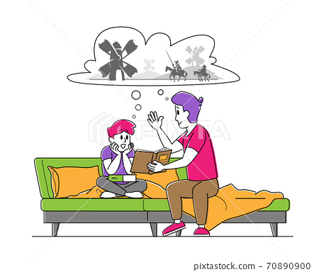 Happy Family Spending Time Together. Father Reading Book to Son Sitting on Sofa, Little Boy Listening Dads Fairytale 70890900