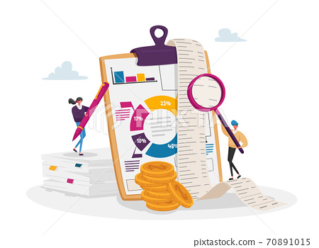 Accounting and Bookkeeping. Tiny Accountant Characters at Huge Clip Board Filling Bookkeeping Data, Graphs and Charts 70891015