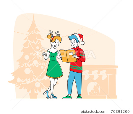 People Caroling, Happy Male and Female Characters Wearing Santa Claus and Reindeer Hats Christmas Singing Carols Songs 70891200