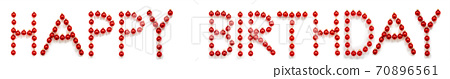 Red Christmas Ball Ornament Building Word Happy Birthday 70896561