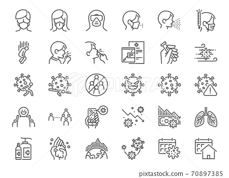Coronavirus Protection line icon set. Included the icons as Coronavirus Symptoms, Incubation Period, Washing Hands, Outbreak Map, Face Mask, quarantine, and more. 70897385