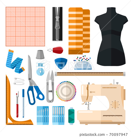Set for sewing on white background. Collection for sew threads, machine, needles, thimble, buttons, pins, scissors, zipper, ruler, bobbin, graph paper 70897947