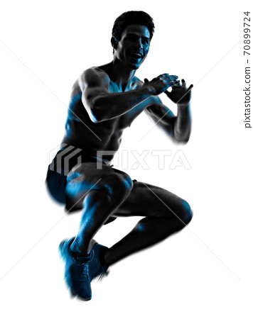 young man fitness exercise exercIsing shadow isolated white background silhouette 70899724